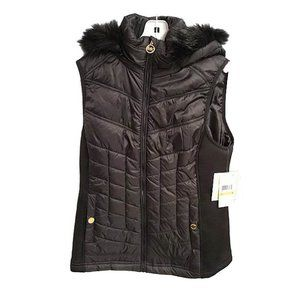 NEW Michael Kors Black Puffer Vest/Faux Fur Hood S
